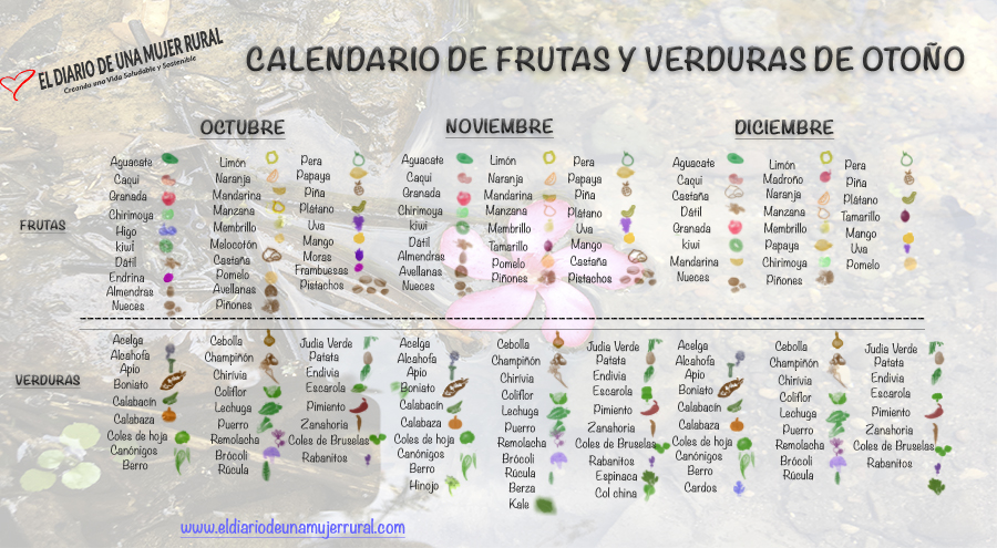 Calendario de verduras y frutas para otoño